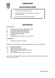 COLUMBA COLLEGE Junior School Stationery List 2009 • All items ...