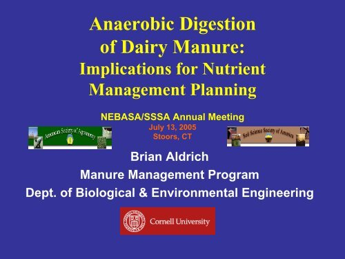Anaerobic Digestion of Dairy Manure - Manure Management
