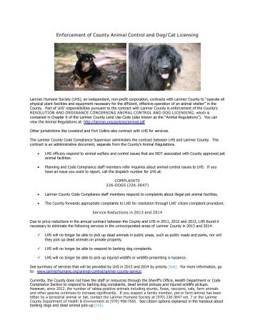 Enforcement of County Animal Control and Dog ... - Larimer County