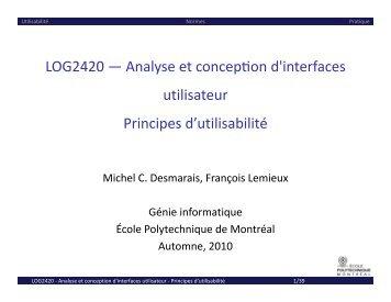 Principes d'utilisabilité - Cours - École Polytechnique de Montréal