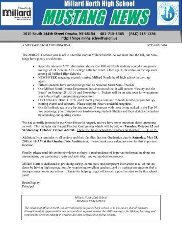 October - November 2010 Newsletter - Millard North High School