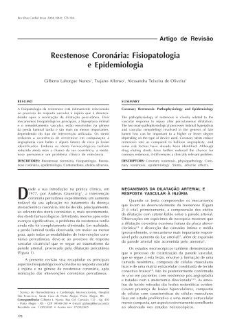 Reestenose Coronária: Fisiopatologia e Epidemiologia