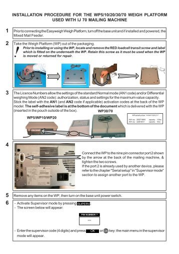 Installation Guide Product(range) - Neopost