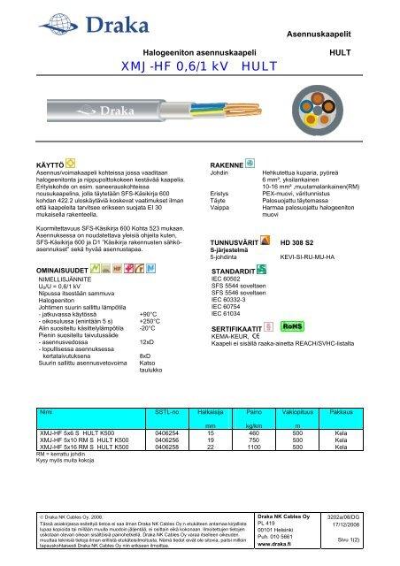 XMJ-HF 0,6/1 kV HULT - Draka