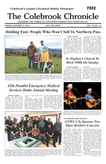 People who won't sell to Northern Pass - Colebrook Chronicle