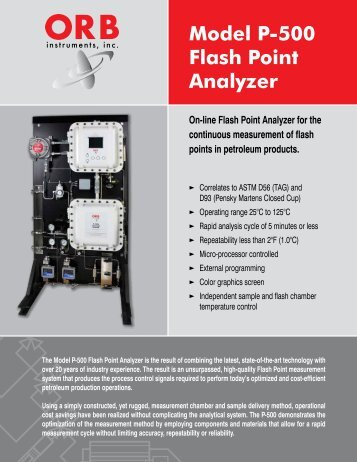 Model P-500 Flash Point Analyzer - OrbInstruments.com
