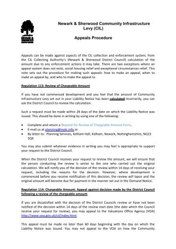 CIL Appeals Procedure Note - Newark and Sherwood District Council