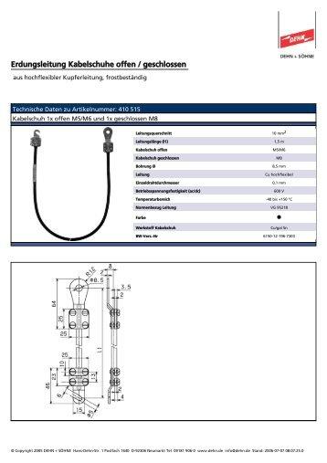 Erdungsleitung Kabelschuhe offen / geschlossen - EuroVolt