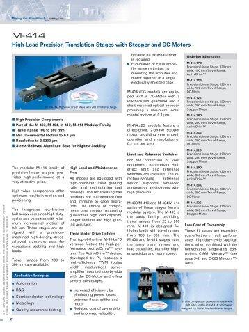M-414 Datasheet (PDF), High-Load Precision-Translation Stages ...