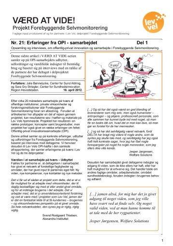 Nr. 21: Erfaringer fra OPI - samarbejdet Del 1 - Lev Vel