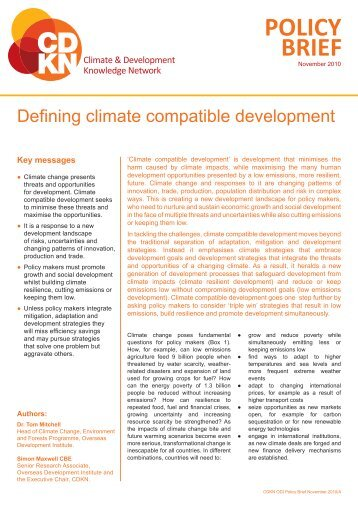 Defining climate compatible development - CDKN Global