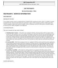 RESTRAINTS Service Information