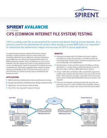 Avalanche CIFS - Spirent Communications