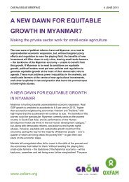 A new dawn for equitable growth in myanmar? - Oxfam International