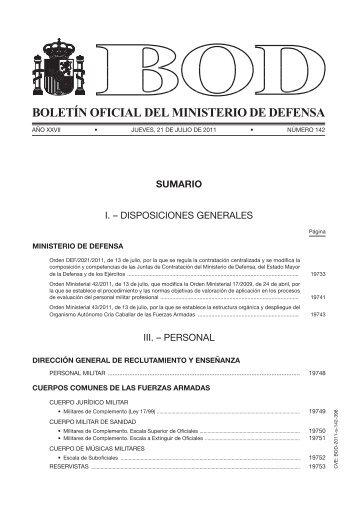 BOLETÍN OFICIAL DEL MINISTERIO DE DEFENSA - Infodefensa