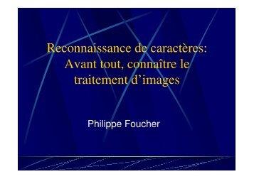 Avant tout, connaître le traitement d'images - Université Paris 8