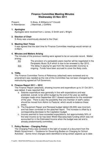 Finance Committee Meeting Minutes Wednesday 23 Nov 2011