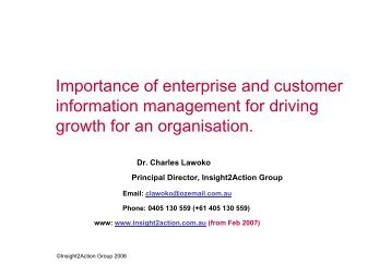 Importance of enterprise and customer information management for ...