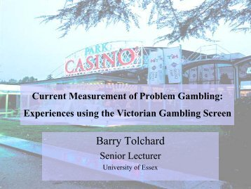 Experiences using the Victorian Gambling Screen - European ...