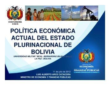 política económica actual del estado plurinacional de bolivia
