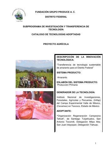 fundación grupo produce ac distrito federal subprograma ... - Cofupro