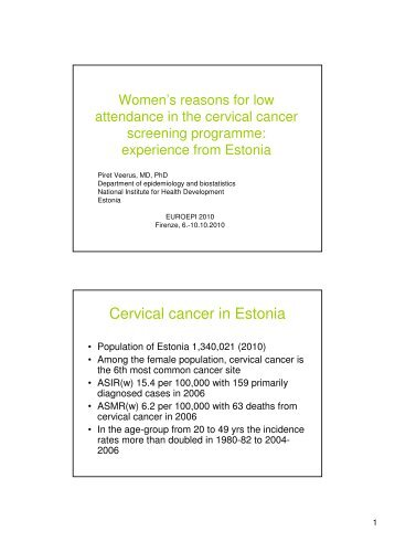 Women's reasons for low attendance in the cervical cancer ...