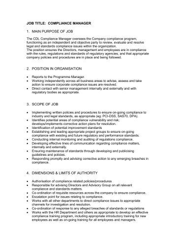 Job description job title position day services manager d - Assistant compliance officer job description ...