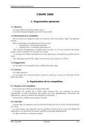 Règlement de la Coupe 2000 - Fédération Française des Échecs