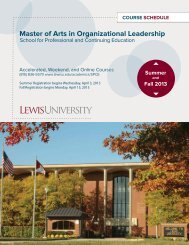 Master of Org. Leadership Summer/Fall 2013 ... - Lewis University