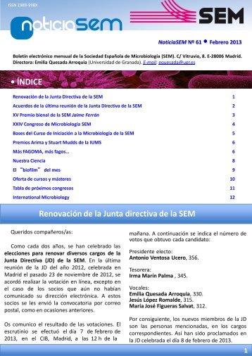 Nº 61 - Febrero 2013 - Sociedad Española de Microbiología