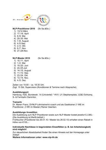 NLP-Practitioner 2010 (9x Sa.&So.) 1) 13/14 März 2) 17./18. April 3 ...