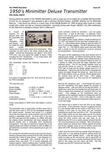 The 1950's minimitter deluxe transmitter - VMARSmanuals