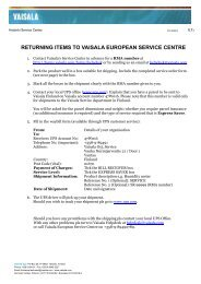 Return product for service - Vaisala