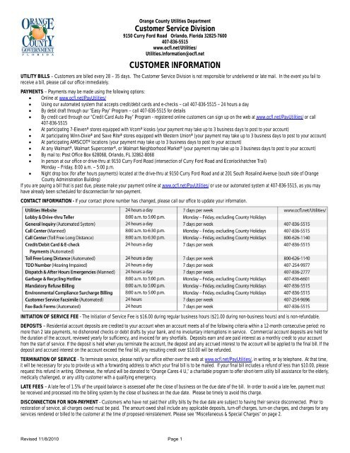 OC Water and sewer connection fee receipts - OrangeCountyFl net