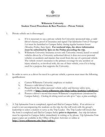 Student Travel Procedures & Best Practices - Private Vehicle