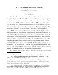 The Law and Economics of Preliminary Agreements - University of ...