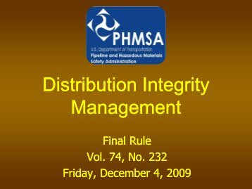 Distribution Integrity Management - Utah Division of Public Utilities