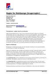 Regler for Mobilpenge (brugerregler) - Spar Nord