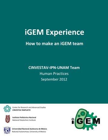 Sharing: The iGEM experience - iGEM 2012
