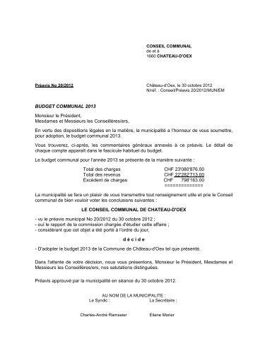 Préavis 20-2012 - Budget communal 2013 - Château-d'Oex