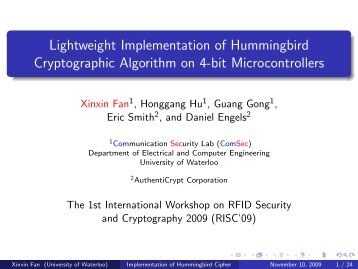 Lightweight Implementation of Hummingbird Cryptographic ...