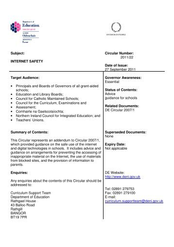 Circular Internet Safety - Department of Education Northern Ireland