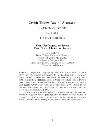 Graph Theory Day 51 Abstracts Plenary Presentation - College of ...
