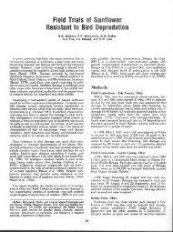 Field Trials. of Su nflower Resistant to Bird Depredation