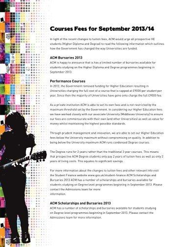 Courses Fees for September 2013/14