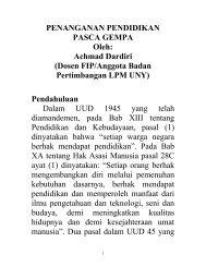 PENANGANAN PENDIDIKAN PASCA GEMPA Oleh: Achmad ...