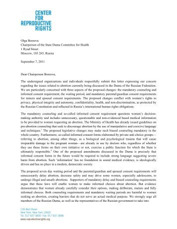 Download letter in English - Center for Reproductive Rights