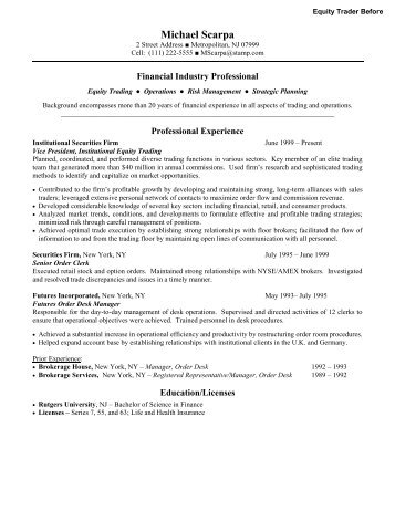 equity trader resume - Jasonkellyphoto.co