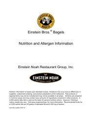 Einstein Bros. Bagels Nutrition and Allergen Information
