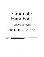 Graduate Handbook - School of Music - University of Arizona